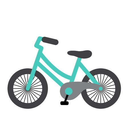 Bike transportation cartoon character side view isolated on white background vector illustration.