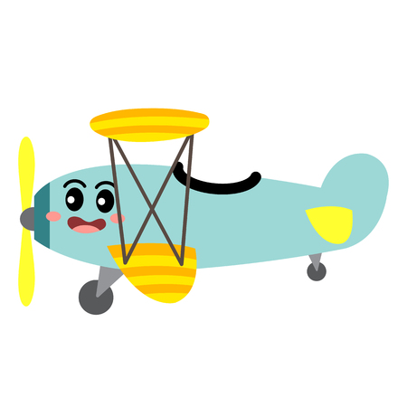 Biplane transportation cartoon character side view isolated on white background vector illustration.