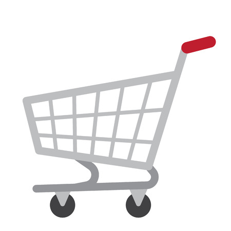 Shopping Cart transportation cartoon character side view isolated on white background vector illustration. Illustration