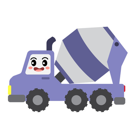 Concrete Mixer Truck transportation cartoon character side view isolated on white background vector illustration. Vectores