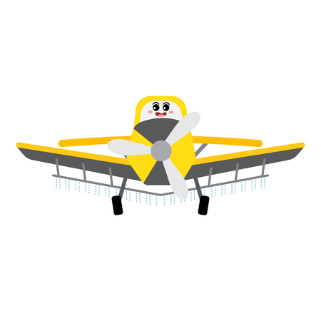 Crop Duster transportation cartoon character side view isolated on white background vector illustration.
