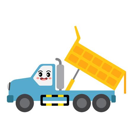 Dumper Truck transportation cartoon character side view isolated on white background vector illustration. Illustration