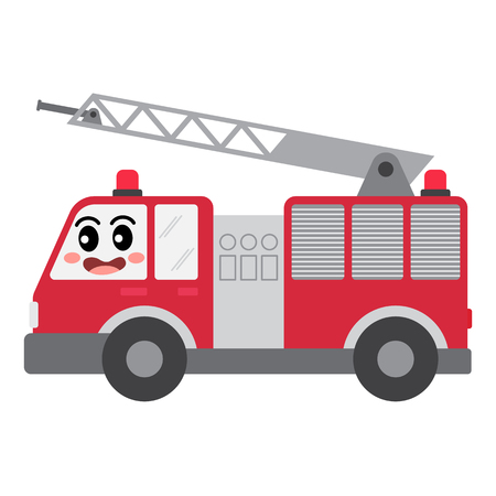 Fire Engine transportation cartoon character side view isolated on white background vector illustration.