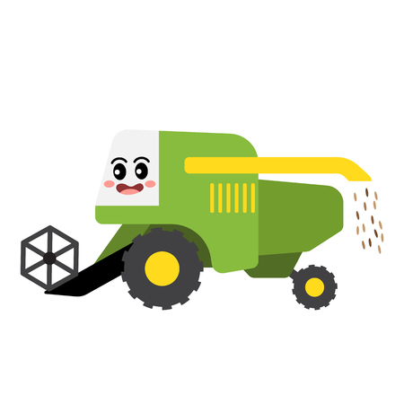 Harvester transportation cartoon character side view isolated on white background vector illustration.