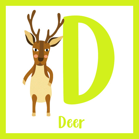 Cute children ABC animal zoo alphabet D letter flashcard of Deer standing on two legs for kids learning English vocabulary. Vector illustration.