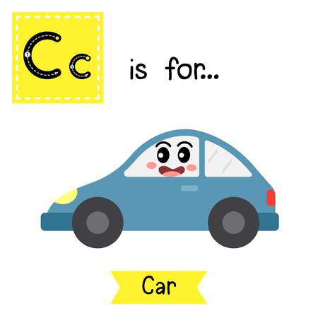 Letter C cute children colorful transportations ABC alphabet tracing flashcard of Car for kids learning English vocabulary Vector Illustration.