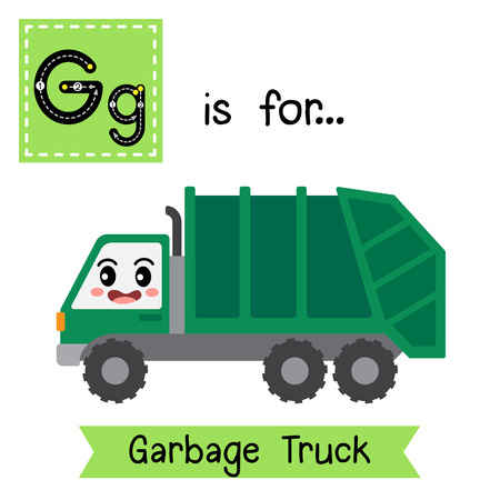 Letter G cute children colorful transportations ABC alphabet tracing flashcard of Garbage Truck for kids learning English vocabulary Vector Illustration.