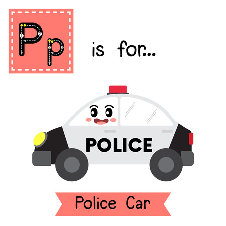 Letter P cute children colorful transportations ABC alphabet tracing flashcard of Police Car for kids learning English vocabulary Vector Illustration. Illustration