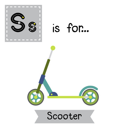 Letter S cute children colorful transportations ABC alphabet tracing flashcard of Scooter for kids learning English vocabulary Vector Illustration. Ilustração