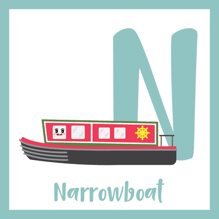 Letter N cute children colorful transportations ABC alphabet flashcard of Narrowboat for kids learning English vocabulary Vector Illustration.