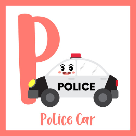 Letter P cute children colorful transportations ABC alphabet flashcard of Police Car for kids learning English vocabulary Vector Illustration.