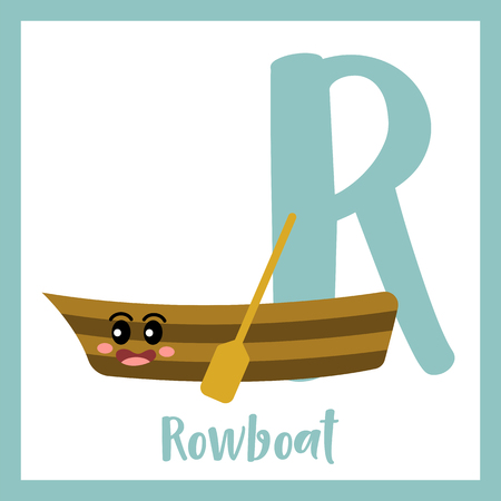 Letter R cute children colorful transportations ABC alphabet flashcard of Rowboat for kids learning English vocabulary Vector Illustration.