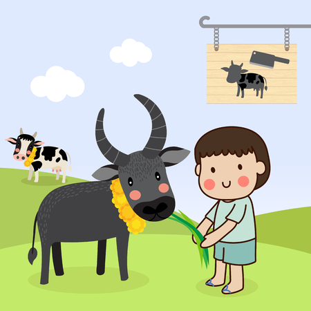 Boy feeding a buffalo and saving cattle lives from the Slaughterhouse. Stock Illustratie