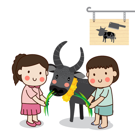 Boy and girl feeding a buffalo and saving cattle lives from the Slaughterhouse with white background.
