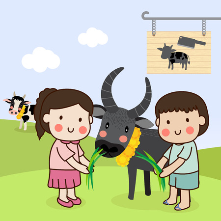 Boy and girl feeding a buffalo and saving cattle lives from the Slaughterhouse. Illustration