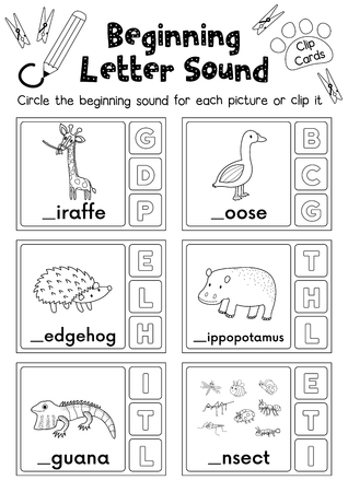 Clip cards matching game of beginning letter sound G, H, I for preschool kids activity worksheet in animals theme coloring printable version layout in A4.