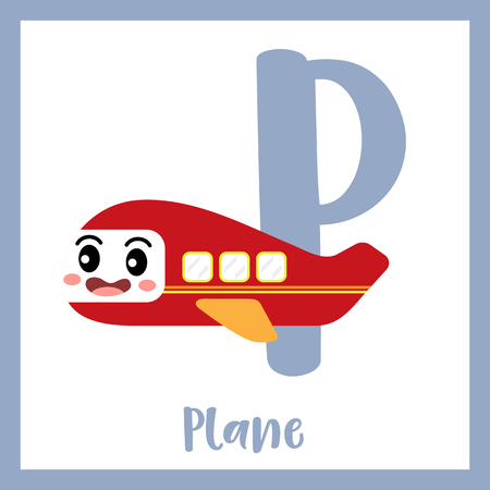 Letter P cute children colorful transportations ABC alphabet flashcard of Plane for kids learning English vocabulary Vector Illustration.