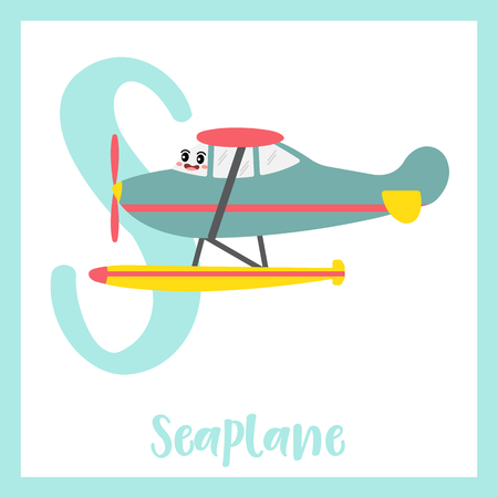Letter S cute children colorful transportations ABC alphabet flashcard of Seaplane for kids learning English vocabulary Vector Illustration.