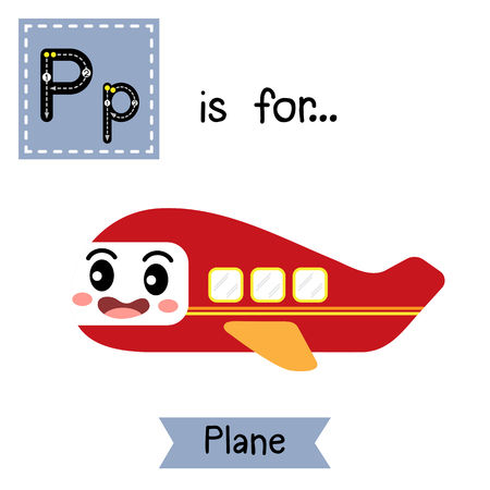 Letter P cute children colorful transportations ABC alphabet tracing flashcard of Plane for kids learning English vocabulary Vector Illustration.