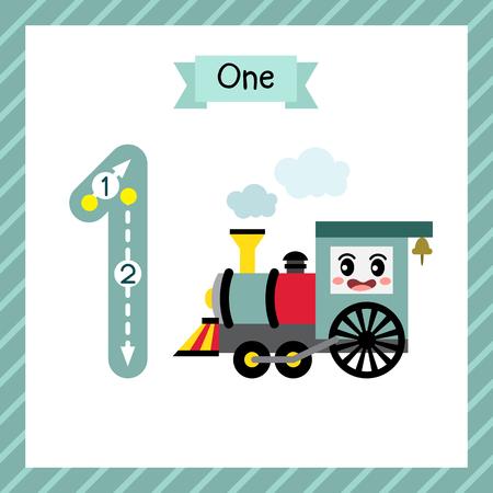 Schattige kinderen Flashcard nummer één tracering met 1 stoomtreinen voor kinderen die leren rekenen en schrijven. Vector Illustratie