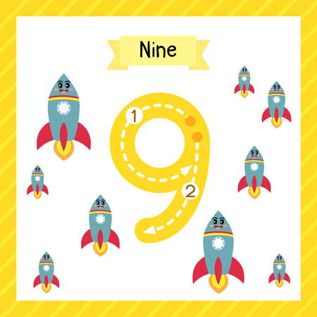 Cute children Flashcard number nine tracing with 9 Rockets for kids learning to count and to write.