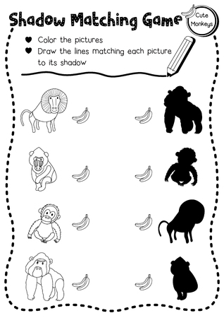 Shadow matching game of primate monkey animals for preschool kids activity worksheet layout in A4 coloring printable version. Vector Illustration. Illustration