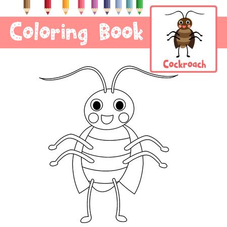 Malvorlagen von Kakerlakentieren für Kinder im Vorschulalter Aktivität pädagogisches Arbeitsblatt. Vektor-Illustration.