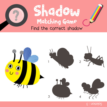 Shadow matching game of Bee side view animals for preschool kids activity worksheet colorful version. Vector Illustration. Illustration