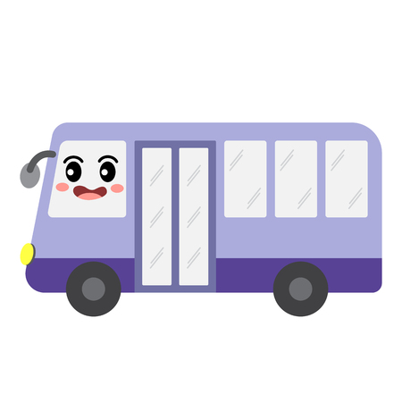 Minibus transportation cartoon character side view isolated on white background vector illustration.