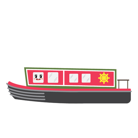 Narrowboat transportation cartoon character side view isolated on white background vector illustration. Illustration