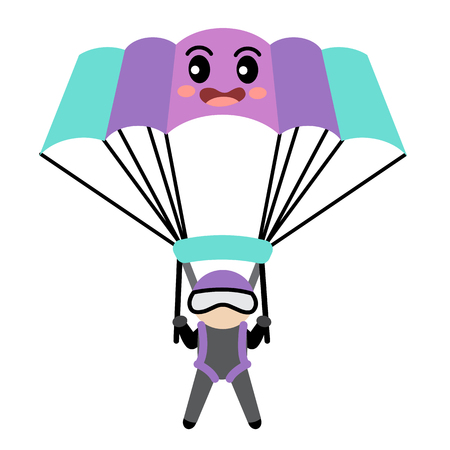 Parachute transportation cartoon character side view isolated on white background vector illustration. Illustration