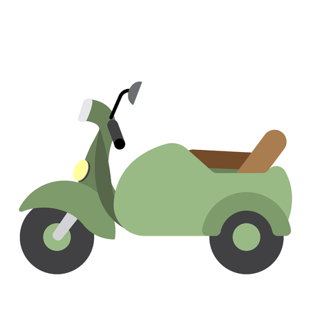Sidecar transportation cartoon character side view isolated on white background vector illustration. Illustration