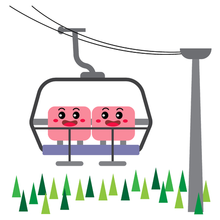 Ski Lift transportation cartoon character side view isolated on white background vector illustration.