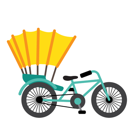 Trishaw transportation cartoon character side view isolated on white background vector illustration. Illustration