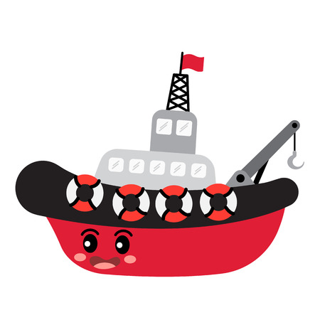 Tugboat transportation cartoon character side view isolated on white background vector illustration. Illustration