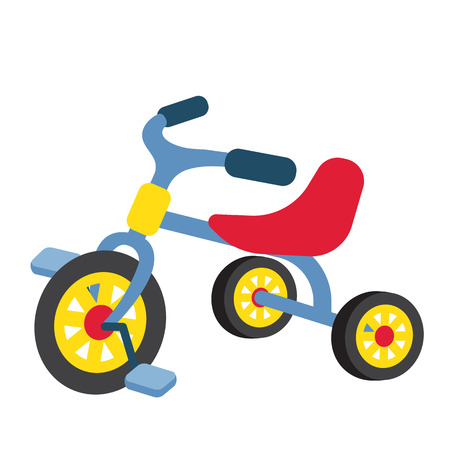 Children Tricycle transportation cartoon character perspective view isolated on white background vector illustration.