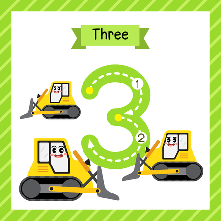 Cute children Flashcard number three tracing with 3 Bulldozers for kids learning to count and to write. Vettoriali