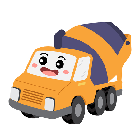 Concrete Mixer Truck transportation cartoon character perspective view isolated on white background vector illustration.