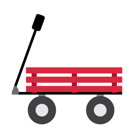 Wagon transportation cartoon character side view isolated on white background vector illustration. Illustration