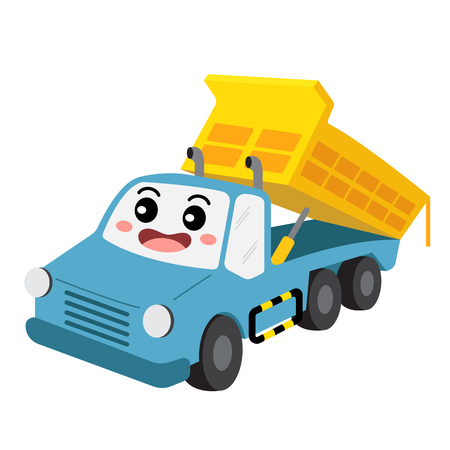 Dumper Truck transportation cartoon character perspective view isolated on white background vector illustration.