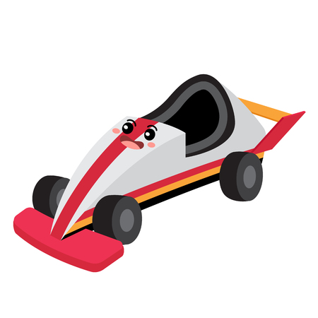 Go-Cart transportation cartoon character perspective view isolated on white background vector illustration.