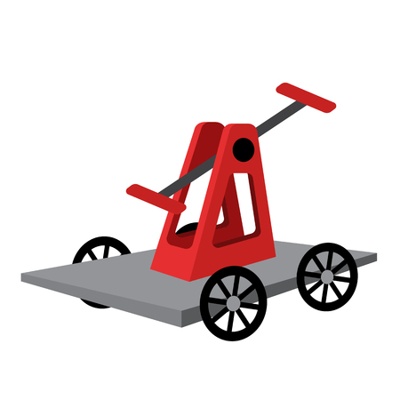 Handcar transportation cartoon character perspective view isolated on white background vector illustration.