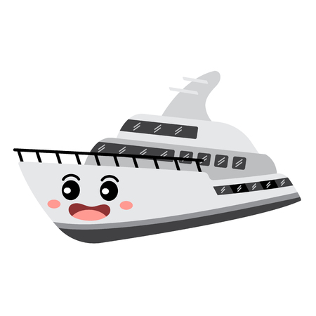 Yacht transportation cartoon character perspective view isolated on white background vector illustration.