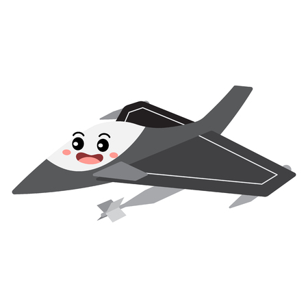 Jet Fighter transportation cartoon character perspective view isolated on white background vector illustration.