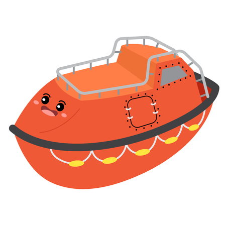 Lifeboat transportation cartoon character perspective view isolated on white background vector illustration. Illustration