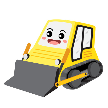 Bulldozer transportation cartoon character perspective view isolated on white background vector illustration.
