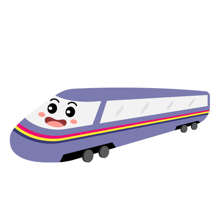 Bullet Train transportation cartoon character perspective view isolated on white background vector illustration.