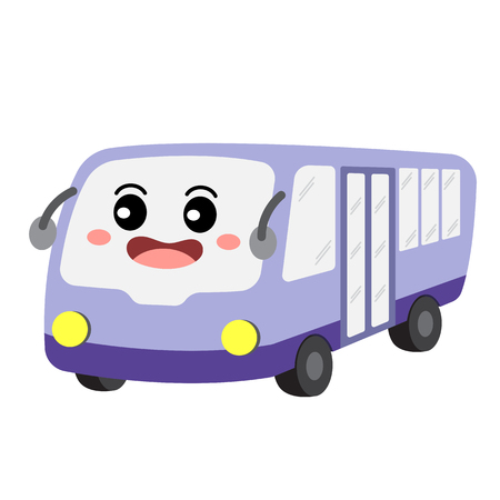 Minibus transportation cartoon character perspective view isolated on white background vector illustration.