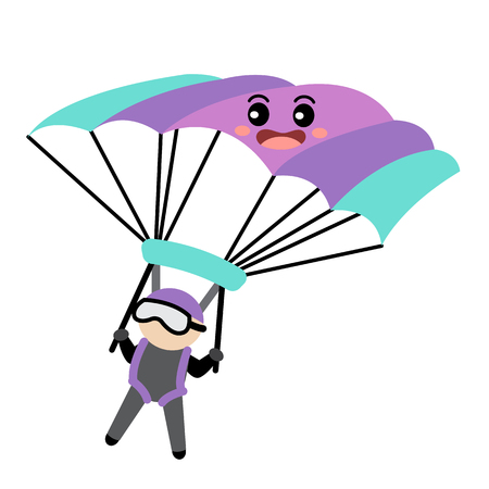 Parachute transportation cartoon character perspective view isolated on white background vector illustration.