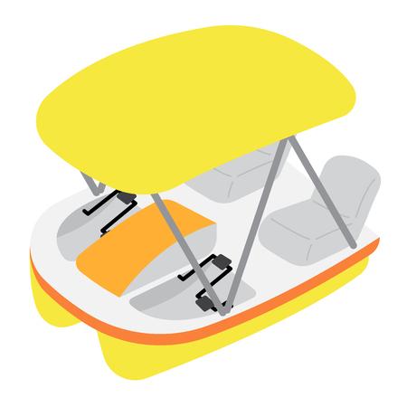 Vue en perspective du personnage de dessin animé de transport de pédalo isolé sur illustration vectorielle fond blanc.